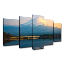 Canvas HD Print Painting Wall Art Poster Modular Picture 5 Panel Snow Mountain Lake Scenery Frame Modern Home Decor Living Room