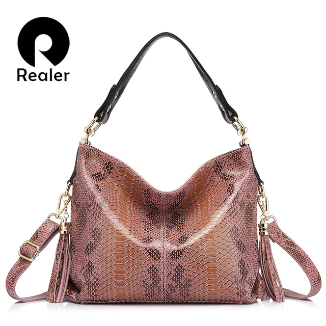 REALER brand spring new women genuine leather handbag fashion ladies large capacity shoulder bags female serpentine pattern tote