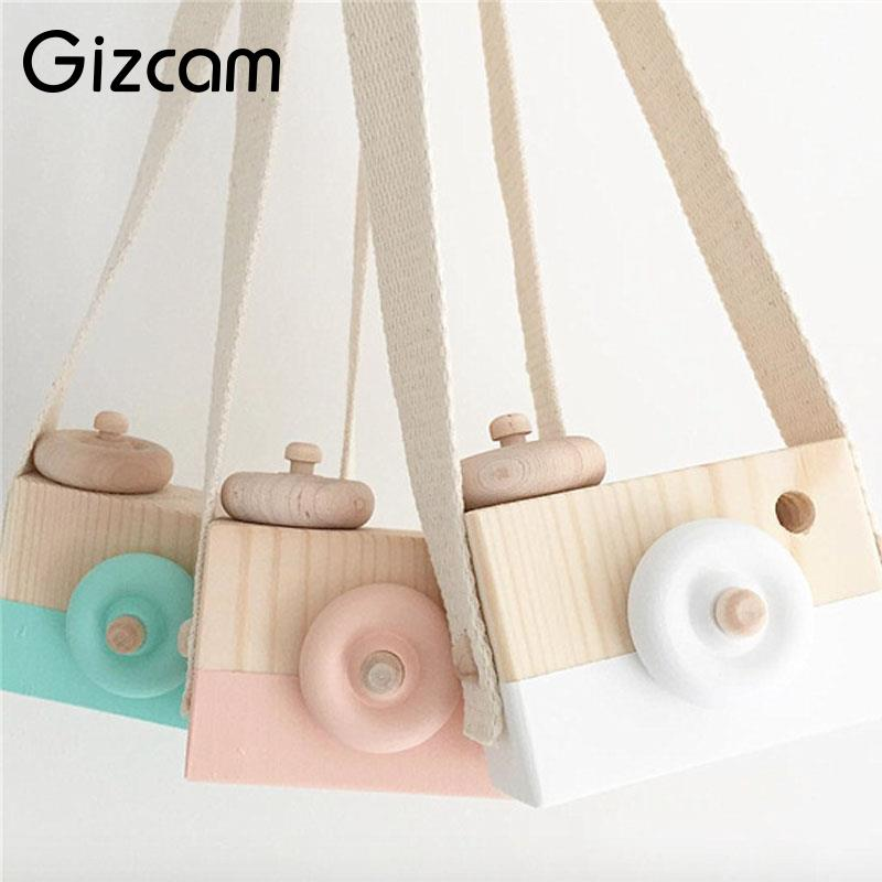 Gizcam 1pc Wooden Camera Cam Toy With Strap for Children Kids Travel Home Photograph Tools Photo Studio Props 9x6x5cm
