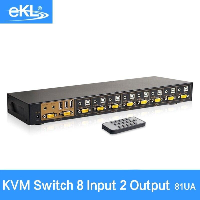 EKL 8 Port VGA KVM USB Switcher Manual VGA Switch BOX USB 2.0 Mouse Keyboard for Monitor Adapter Connect Printer mouse keyboard penetrator file data sharer clipboard sharing 1 km set control 2 host pc linker kvm switch without vga usb gadget