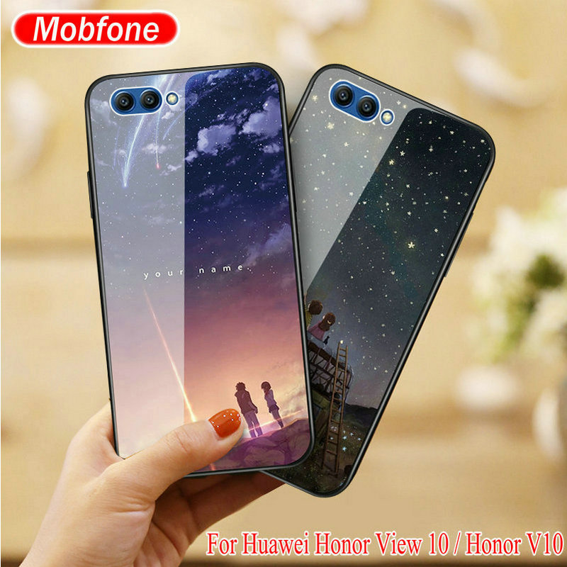 Galleria fotografica Funny Fashion Tempered Glass + TPU Cover For Huawei <font><b>Honor</b></font> <font><b>View</b></font> 10 / <font><b>Honor</b></font> V10 5.9