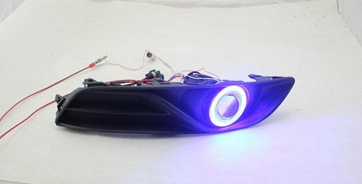 DRL COB angel eye (6 couleurs) + lentille de projecteur + H3 lampe anti-brouillard halogène + couvercle de lampe anti-brouillard pour Nissan Sylphy sentra 2012-14 - 3