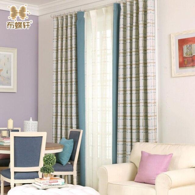 US $14.82 22% OFF Neue Ankunft Zwei Farben Option Koreanische und Moderne  Vorhänge für Schlafzimmer Mädchen Kinderzimmer Blau Rosa Nähen Karierten ...