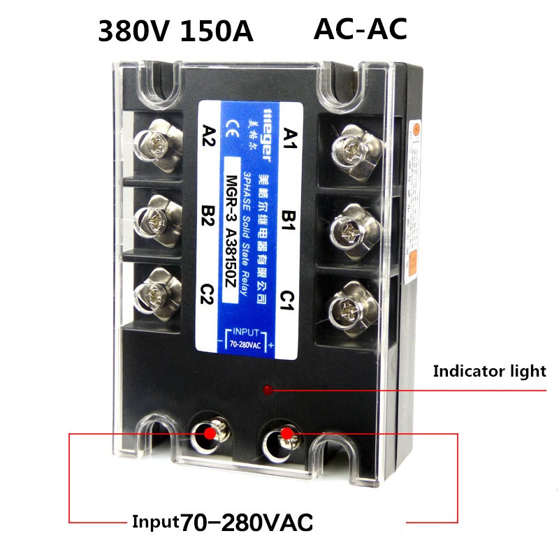Three-phase solid state relay 380V 150A MGR-3 A38150Z AC-AC normally open single phase solid state relay ssr mgr 1 d48120 120a control dc ac 24 480v