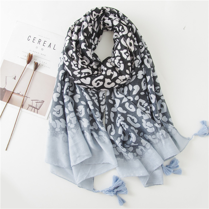 2018 Women Fashion Plain Ombre LeoPard Dot Tassel Viscose Shawl   Scarf   Print Soft   Wrap   Pashmina Stole Foulards Muslim Hijab Snood