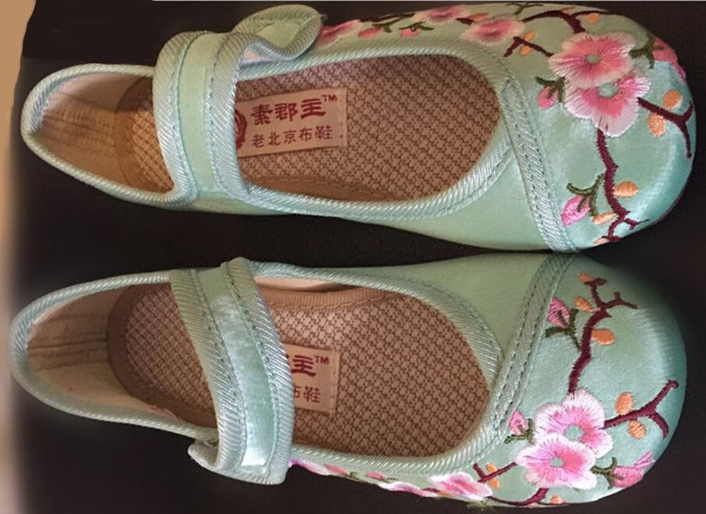 duże dziewczęce buty mary jane mały kwiat haft biały zielony - Obuwie dziecięce - Zdjęcie 3