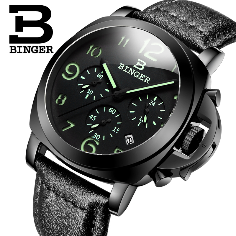 Genuine Luxury BINGER Brand Men leather strap luminous waterproof sport Chronograph calendar military watch large dial all black genuine switzerland binger brand men automatic mechanical luminous calendar waterproof sports chronograph military gold watch