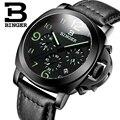Genuino suizo binger marca hombres correa de cuero calendario cronógrafo luminoso impermeable de los deportes reloj militar dial grande todo negro