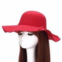 Large Hat Fedoras Casual Border Autumn Winter Wool Big Brim Hat Lady For Women