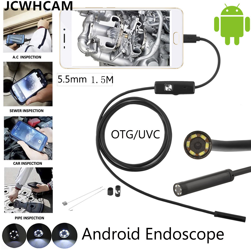 JCWHCAM Android Phone Micro USB Endoscope Camera 5.5mm Lens 6LED Portable OTG USB Endoscope 1.5M USB Android Phone Borescope wifi 4 9mm lens ear nose medical usb endoscope borescope inspection otoscope camera for ios android pc
