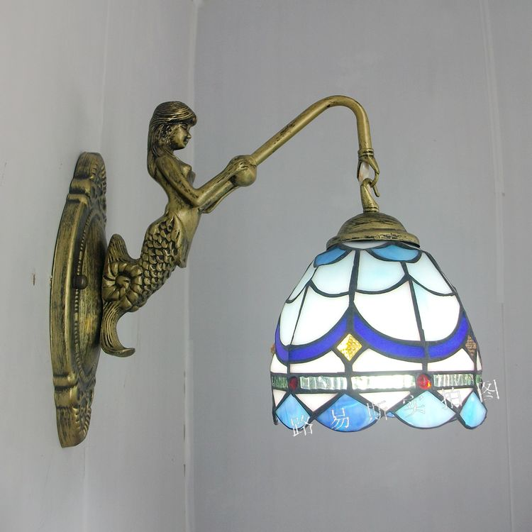free delivery Cheap Mermaid simple European balcony bedroom bedside wall lamp Tiffany glass art lighting with Mediterranean 12 inch simple european style modern restaurant droplight tiffany glass lighting mahjong table mediterranean balcony lamp