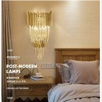 Светодиодный Кристалл Золотой ночной Настенные светильники в помещении современный настенный светильник спальня E14