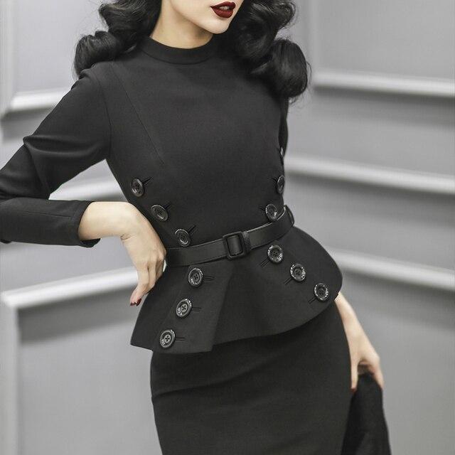 573329dc612 40- le palais vintage 50s elegant long sleeve peplum wiggle pencil dress in  black pinup vestidos plus size dresses jurken robe