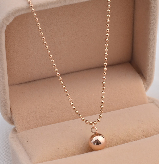 Smooth Steel Ball Pendant Necklace Titanium Steel Rose Gold Color Woman Fine Jewelry Birthday Gift Free Shipping Never Fade