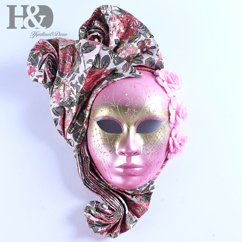 H D New Full Face Venetian Fanshaped Mask Pink Masquerade Mardi Gras Mask for Party Wedding Event Wall Decorative Art Collection in Party Masks from Home Garden