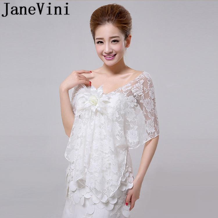 JaneVini White Red Lace Shawl Bridal Coat Flowers Bolero