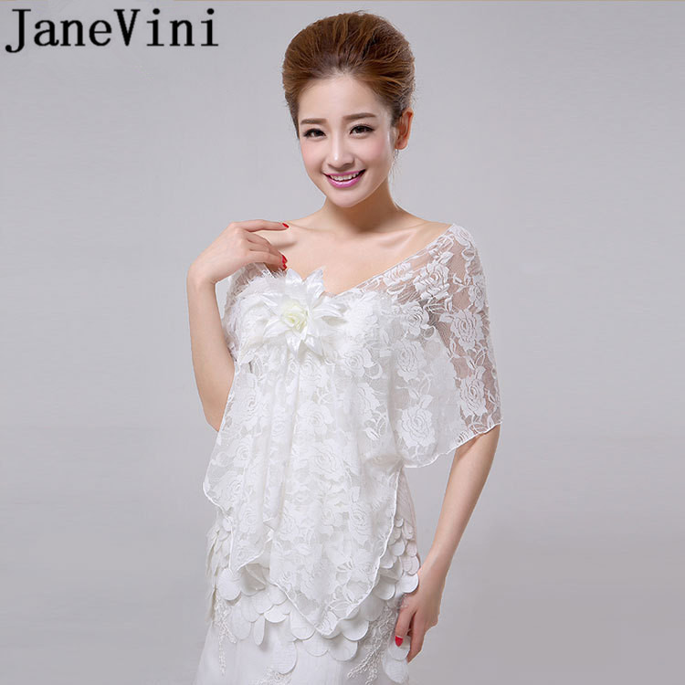 JaneVini White Red Lace Shawl Bridal Coat Flowers Bolero for Wedding Dress Sheer Women Cape Wraps Evenng Party Bolero De Mariage