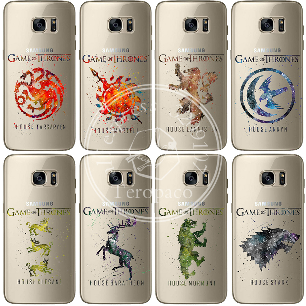 Game Thrones House Stark Art Design Clear Soft Silicone Phone Cover For Samsung S6 S7 Edge S8 S9 Plus A3 A5 A7 2016 2017 Case image