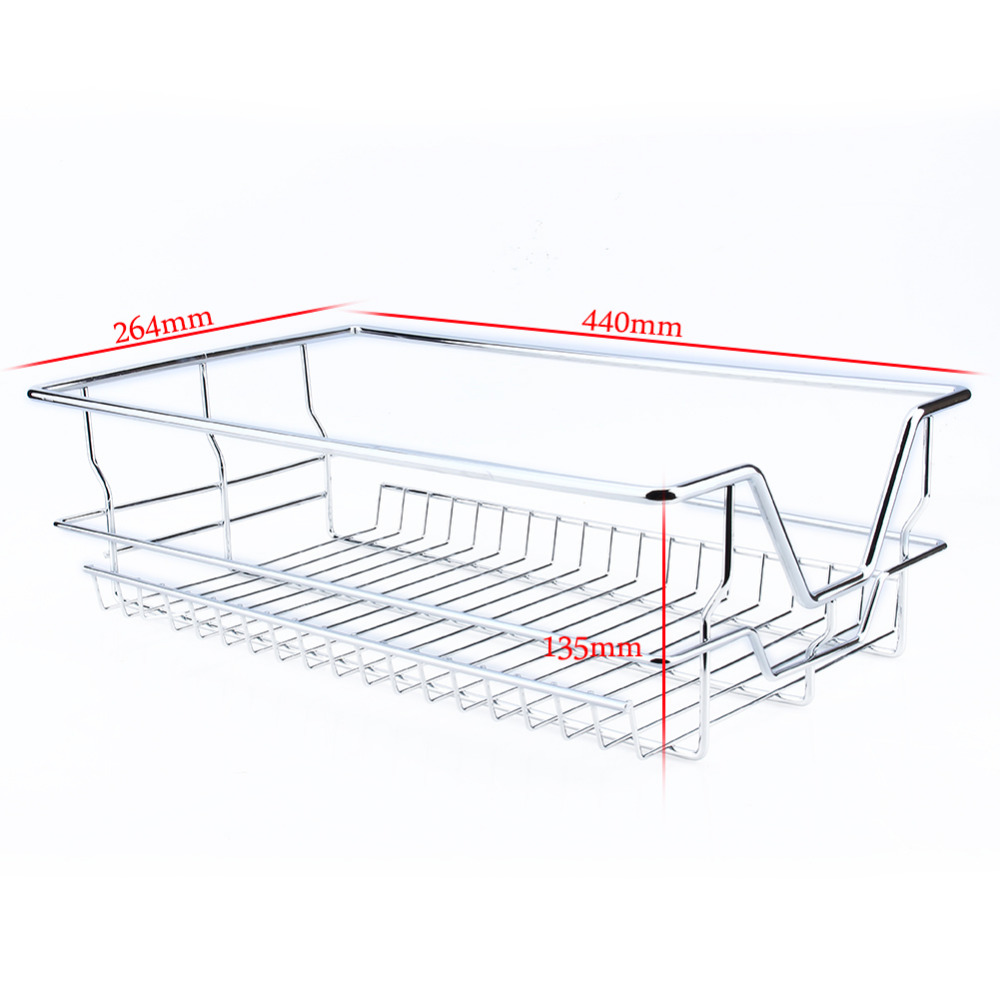 Under Shelf Storage Basket Kitchen Pantry Pull Out Sliding Metal ...