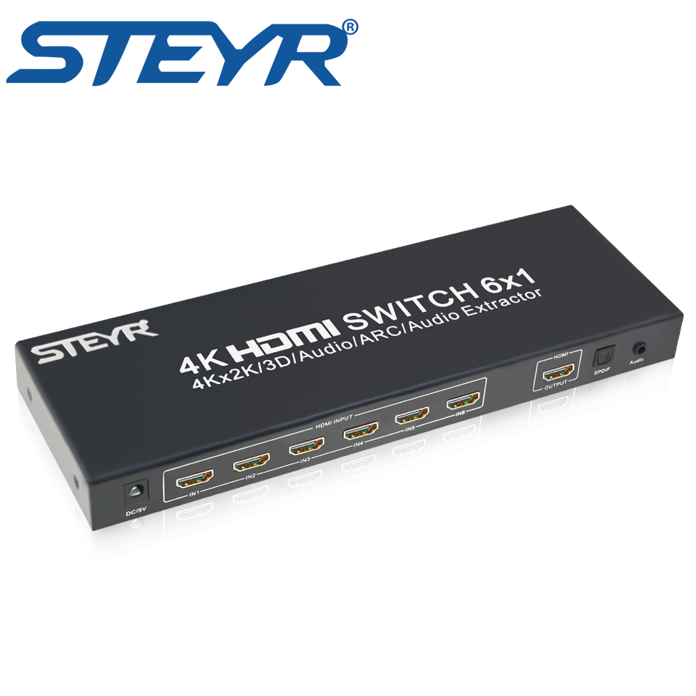 STEYR 6x1 HDMI Switch 6 port HDMI Audio Extractor Switch 6 in 1 out Switcher with