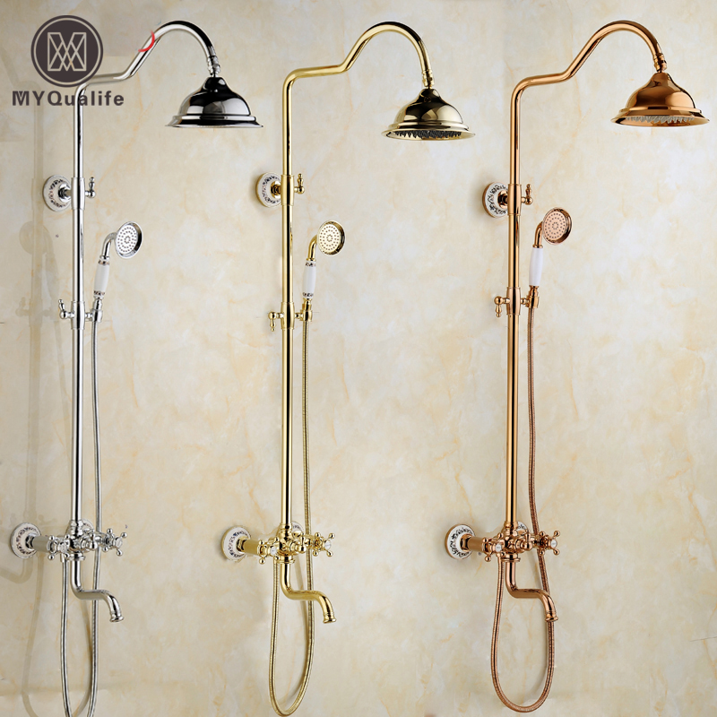3-Colors In-wall Adjust Height 8 Rain Shower Faucet Set Single Handle Rotation Tub Spout Bath and Shower Mixers + Handshower
