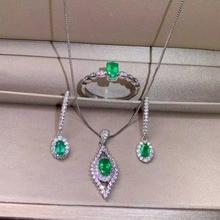 купить SHILOVEM 925 sterling silver Natural Emerald rings pendants stud earrings classic fine Jewelry wedding women jctz04060305agml по цене 3640.18 рублей