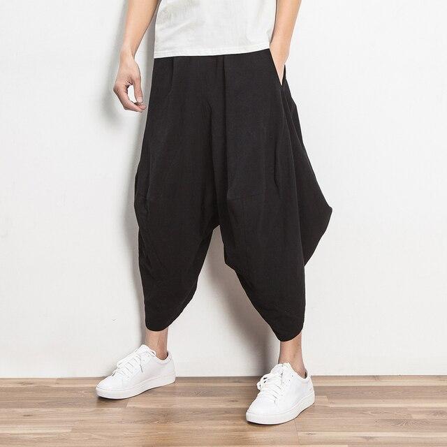 Estilo de China Mens Harem Pant 2017 Nueva Loose Nepal pantalones Anchos de La Pierna Pantalones de Lino Pantalones Casuales Hombres de Color Sólido Falda Pantalón
