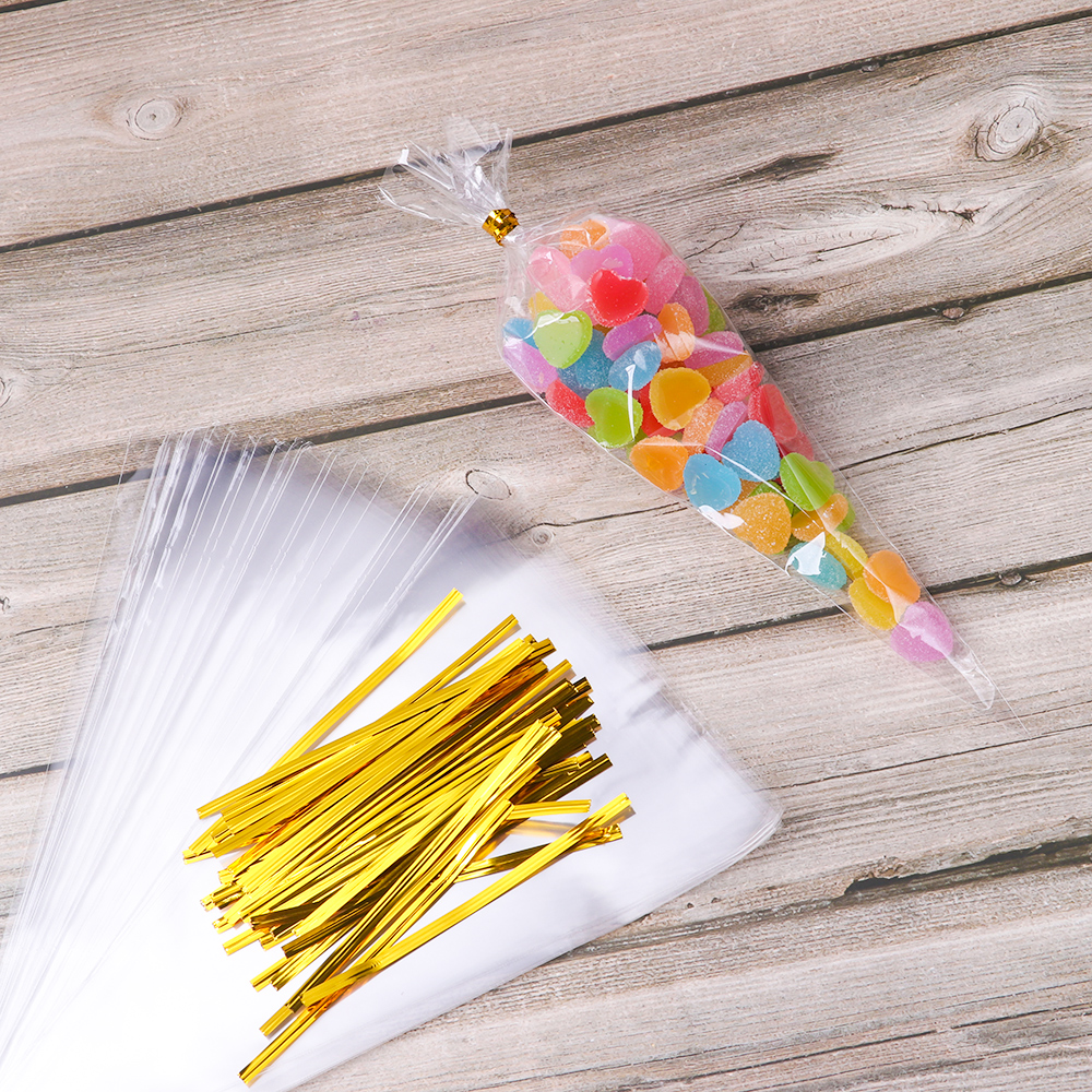 50Pcs/Set DIY Plastic Popcorn Cellophane Packing Candy Gift Bags Environmentally Friendly Chocolate Sweet Wedding Supplies Clear