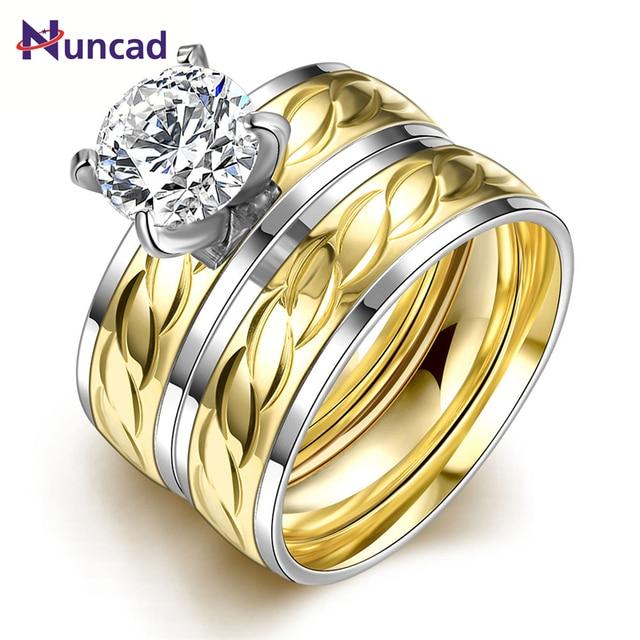 Women 2pcs 1set Anium Steel Golden Marriage Engagement Rings Anel De Ouro Lotes Al Por