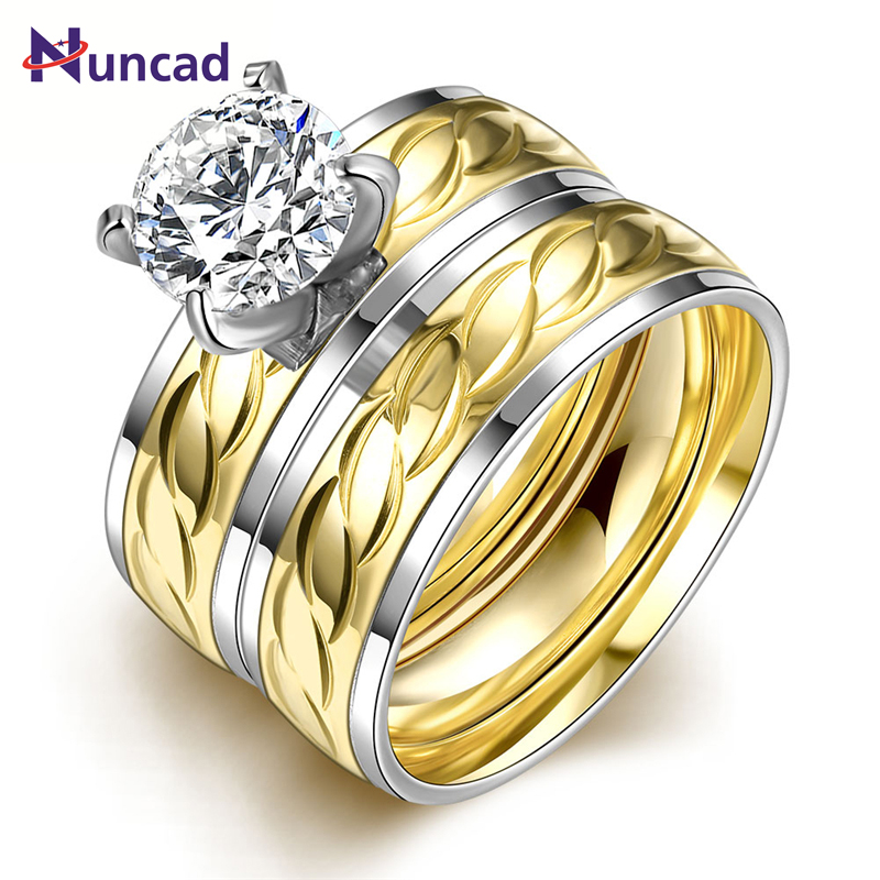 Women 2PCS/1SET Titanium Steel Golden Marriage Engagement Rings Anel De Ouro Lotes Al Por Mayor US Size 6-9 Fashion Jewelry ...