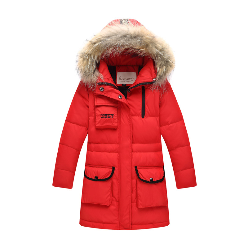 Children's Down Jacket 2018 New Children's Wear Boys Middle and Long Large Korean Girls' Heavy Hair Collar Padded Jacket stand collar 3d stars and striped print zip up padded jacket