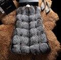 EMS/DHL Бесплатная доставка 2016 Новый Женщин Реального Silver Fox Меховой Жилет Мода Натуральный Красный Лисий Мех Рукавов Теплый жилет