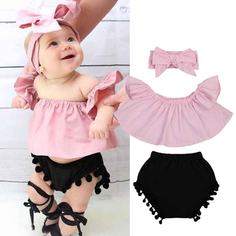 Plaid Diaper Shorts Set Summer Outfits Clothes Set Newborn Baby Girls Off-Shoulder Ruffles Tops