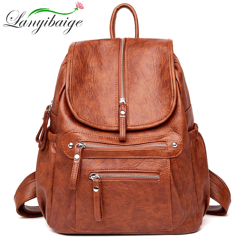Women High Quality Leather Backpacks Vintage Female Shoulder Bag Sac A Dos Travel Ladies Bagpack Mochilas School Bags For Girls