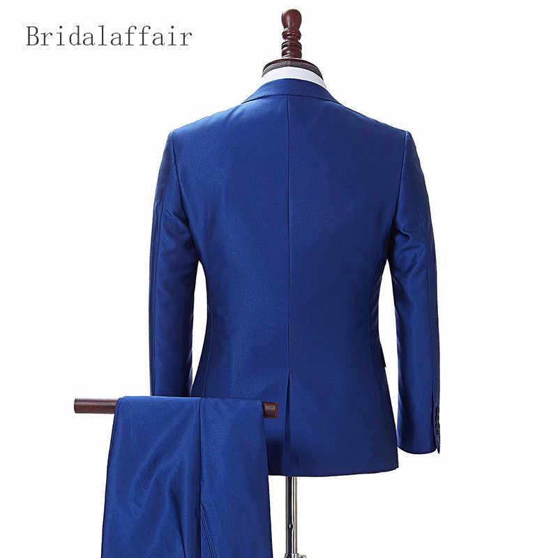 Bridalaffair итальянский Для мужчин s Нарядные Костюмы для свадьбы полушерстяные Формальные смокинг жениха лацканы королевский синий мужской костюм Роскошные куртка брюки 2 шт.