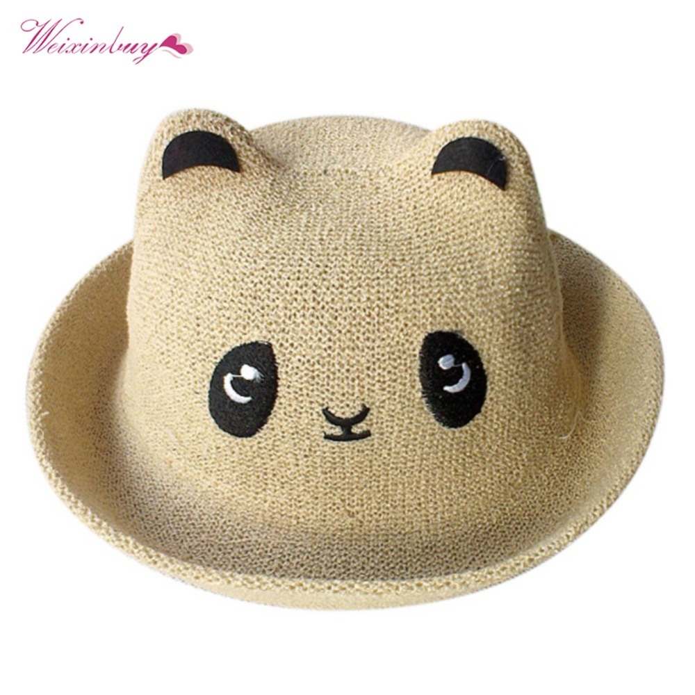 Baby Boy Girl Hat New Fashion Cute Cartoon Panda Hat Newest Boys Girls Cute Straw Hat 1-3T 2 Style Baby Hat