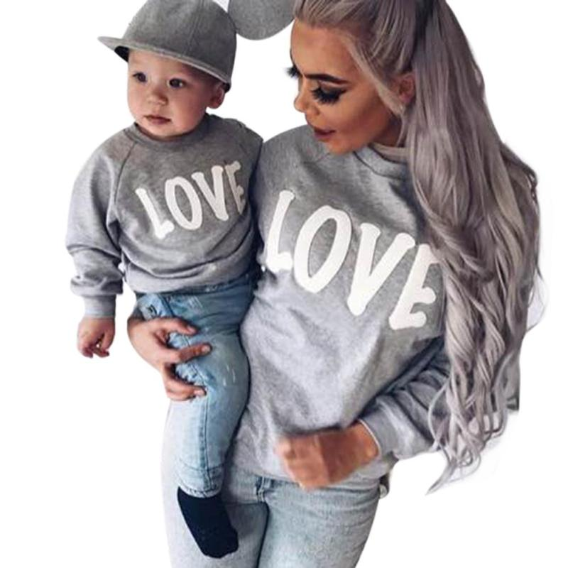 Autumn Winter Family Matching Sweatshirt Sweaters Mom Mother and Baby Daughter Clothes L ...