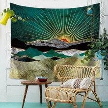 Закат горы Индиго гобелен природа художественная настенная ткань хиппи психоделический гобелен на стену дерево пейзаж стены ковер ткань