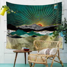 Sunset Mountain Indigo Tapestry Nature Art Wall Fabric Hippie Psychedelic Tapestry Wall Hanging Tree Landscape Wall Carpet Cloth