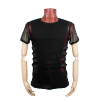 Rock Men's personality Hollow Breathable T shirt Sexy T shirt Steampunk Metal Black Top
