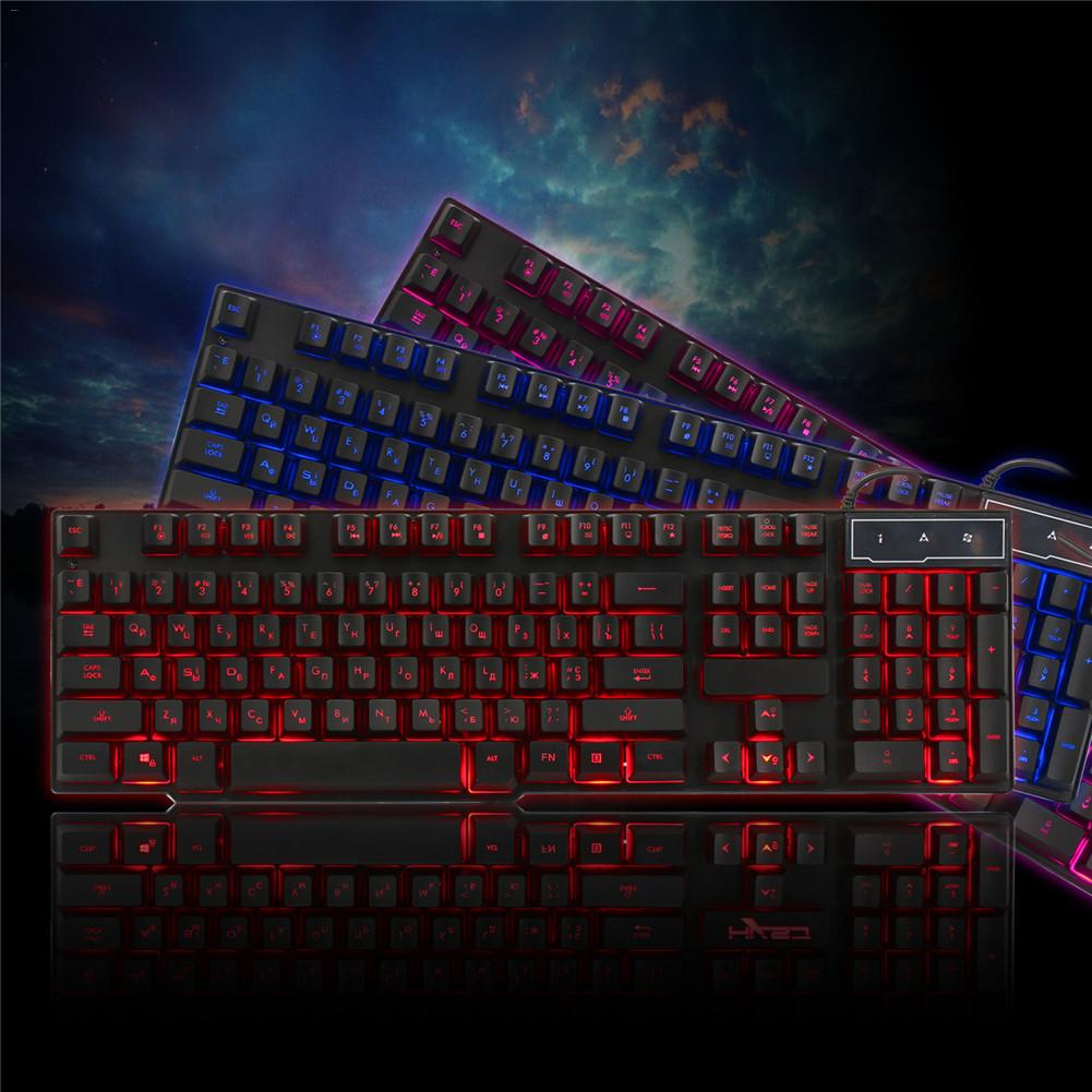 English + Russian 104 Key Robot Keyboard Backlight 3 Color Mechanical Gaming Keyboard juexie x100 usb 2 0 104 key wired gaming keyboard w 3 color backlight black white