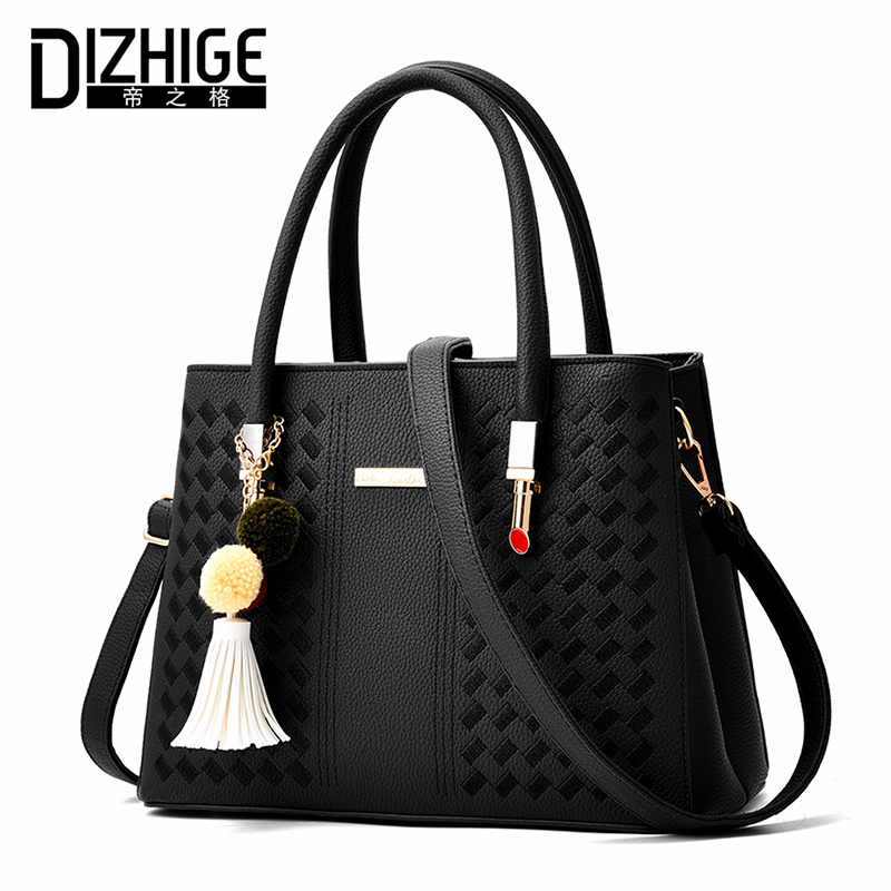 DIZHIGE Brand Fashion Knitting Women Handbags Tassel Bags Women Chain Shoulder Bags Ladies PU Leather Bags Designer Tote New dizhige brand 2017 fashion thread crossbody bags plaid pu leather bags women handbags designer shoulder bags ladies sac spring