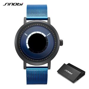 Image 2 - SINOBI Hohe Qualität Einzigartige Drehen Kreative Uhr herren Stahl Mesh Band Quarz Armbanduhren Sport Blau Mann Uhr Reloj Hombre