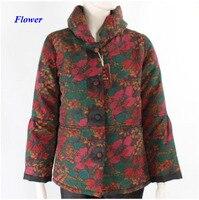 Новое поступление женские большие размеры wateredgauze Теплая стеганая куртка, 100% gambiered Canton шелк стоячим воротником зимняя куртка женские