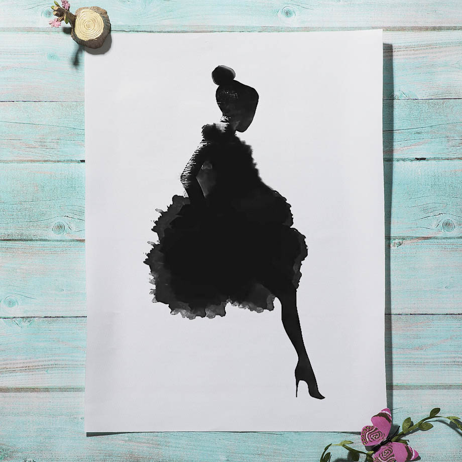 Fashion Girl stairs Abstract Line Vintage Nordic Posters And Prints Wall Art Canvas Painting Wall Pictures For Living Room Decor in Painting Calligraphy from Home Garden