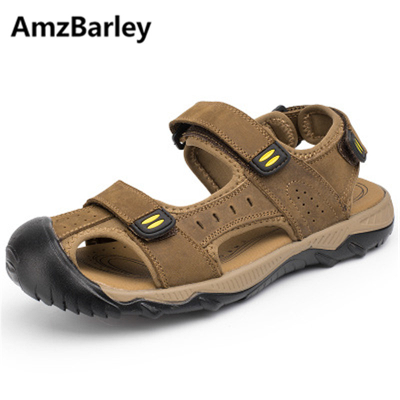 AmzBarley Men Sandals Footwear Flats Shoes Plus Size 48 Leather Breathable Comfortable Shoe Outdoor Male Beach Walking Summer boys girls antislip usb sandals summer cut out comfortable flats beach sandals kids children breathable led shoes with light
