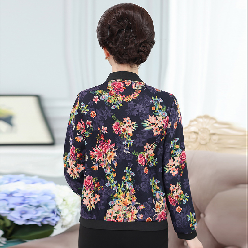 NIFULLAN 2018 Spring Fall New Fashion Women Bomber Jacket Coat 5XL Plus Size Long Sleeve Stand Collar Print Mother Outwear Tops