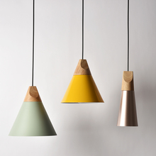 Fashion Modern Colorful Chandelier Aluminum Wood Simple Pendent Light Decor Bar Counter Cafe Living Room Golden Green Black Lamp цена