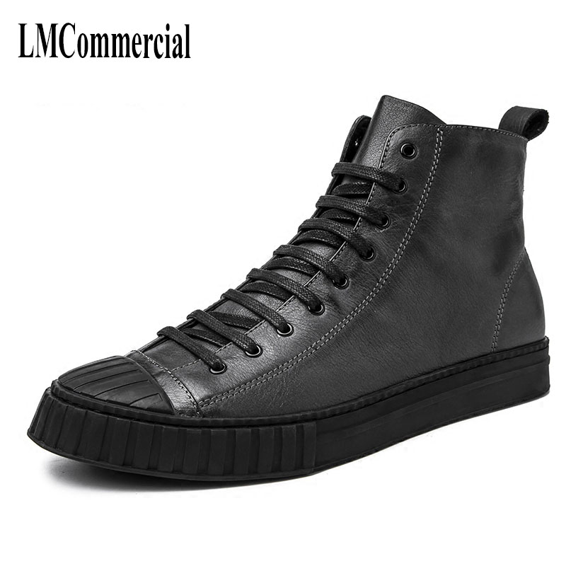 High tops male trend of Korean young men Vintage British all-match leather casual boots shoes warm in winte cowhide men boots