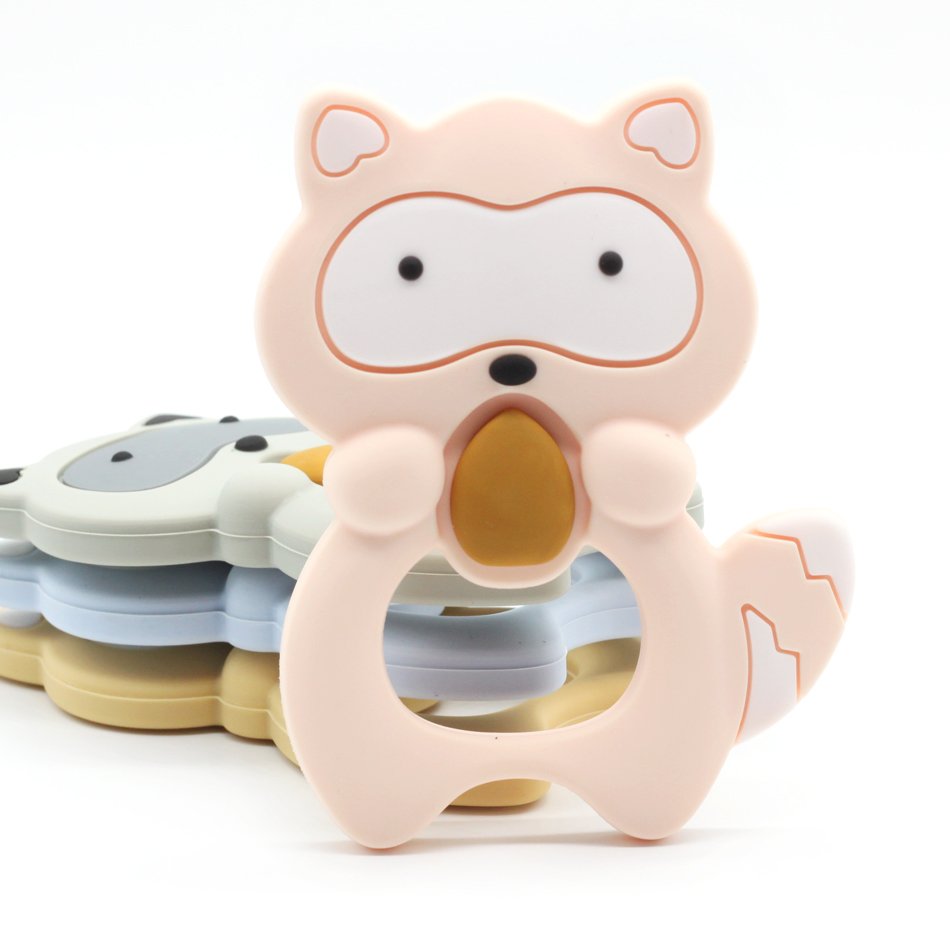 Trend Product  1 pcs Silicone Teethers Raccoon Baby Ring Teether BPA Free Silicone Chew Charms Baby Teething Teeth
